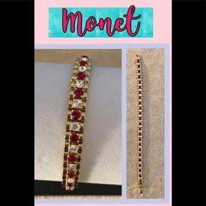 Monet Vintage Red/White Rhinestone Bracelet
